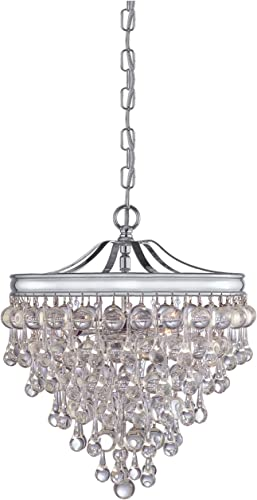 Crystorama 130-CH Crystal Three Light Pendants from Calypso collection in Chrome, Pol. Nckl.finish,