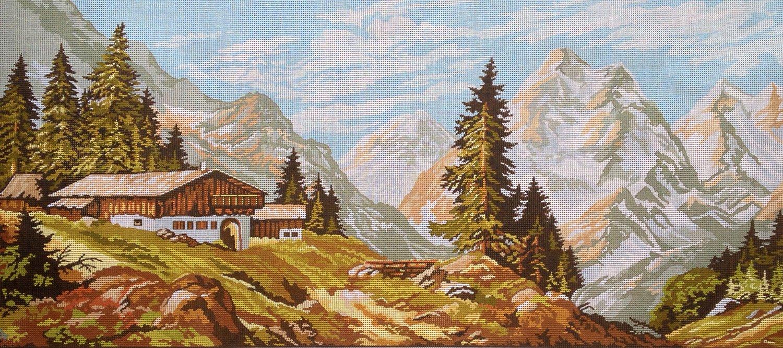 Hudemas Kit Mezzo Punto Completo Paesaggio di Montagna Mis 73x32cm cod 131