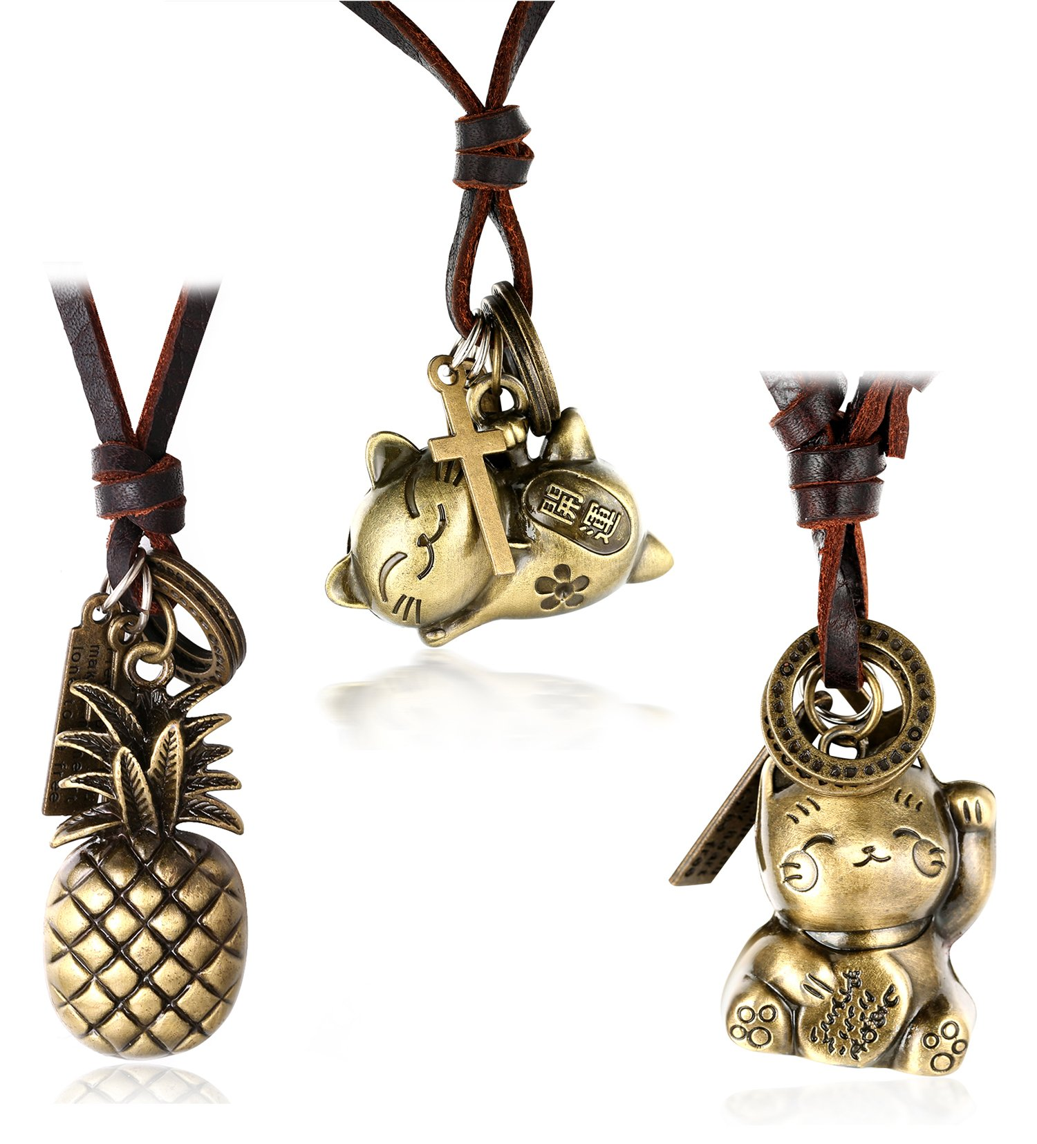 Halukakah WILDS HUNTER Men's Genuine Leather Cord HAPPINESS RICH Attract Fortune Cat GOOD LUCK Pineapple Pendant with Size Adjustable Russian Knot Necklace Set FREE Giftbox