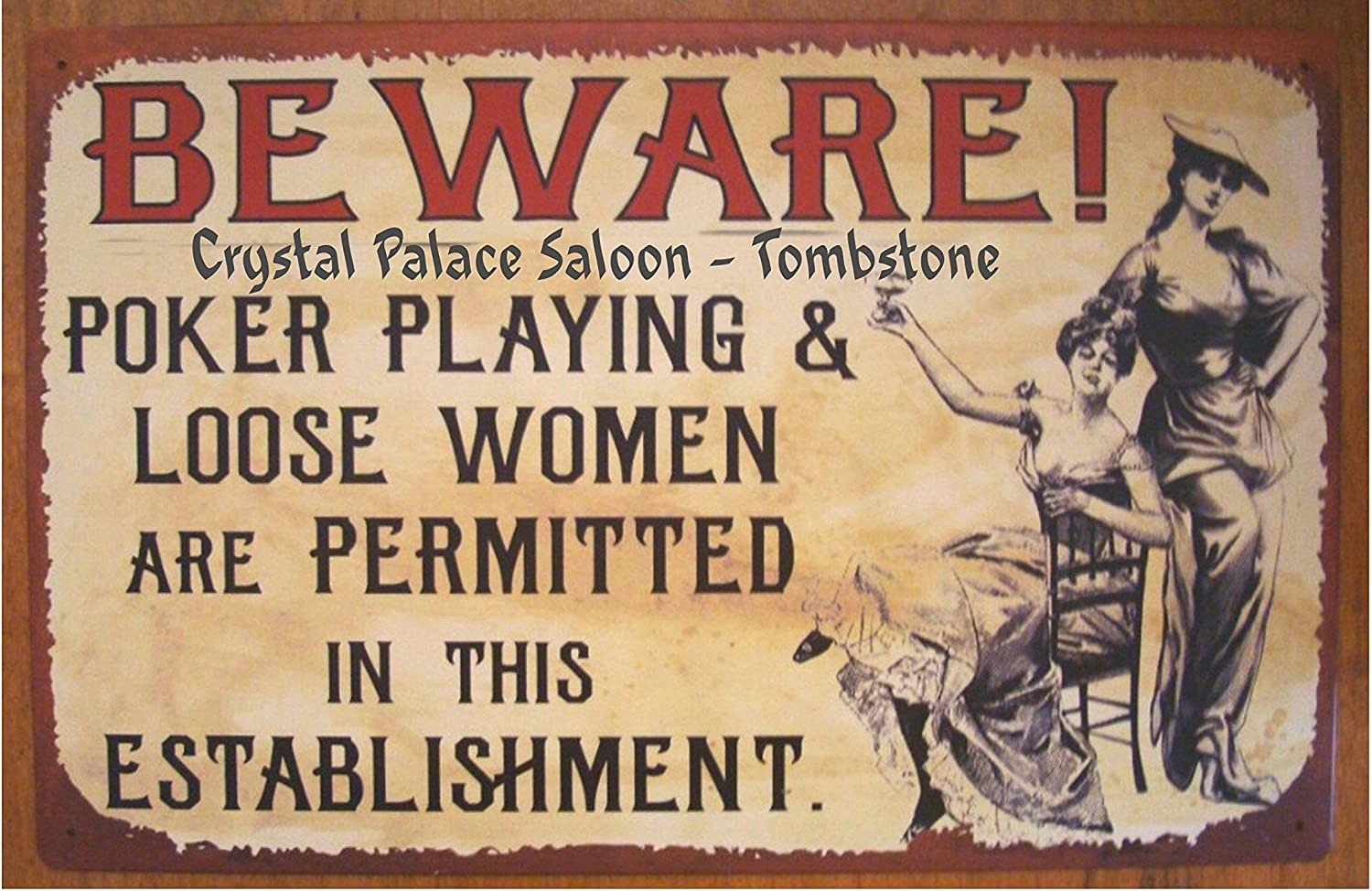 ZJLVMF Old Tin Sign Crystal Palace Saloon Brothel Loose Women 8 1/2 x 12 Inches