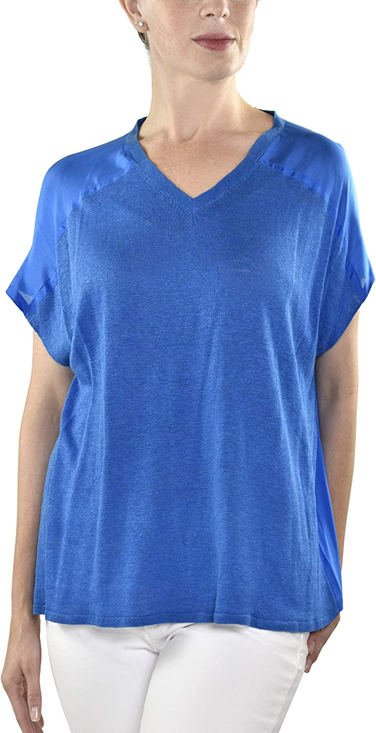 Eileen Fisher Tunic V Neck Silk Georgette Crepe Navy Blue Tunic with Pockets