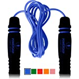 Epitomie PowerSkip Jump Rope with Memory Foam Handles and Weighted Speed Cable - Electric Blue