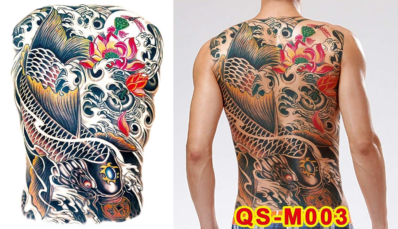 tzxdbh 2 Unids-Full Volver Etiqueta Engomada del Tatuaje Guan Gong ...