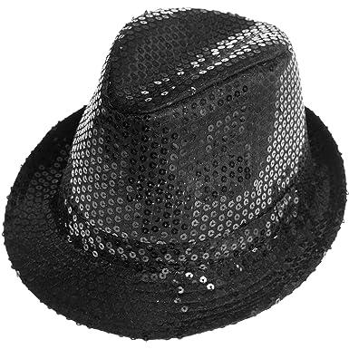 4fe3d6cfc09 KIABI Chapeau borsalino à sequins argent TU  Amazon.fr  Vêtements et  accessoires