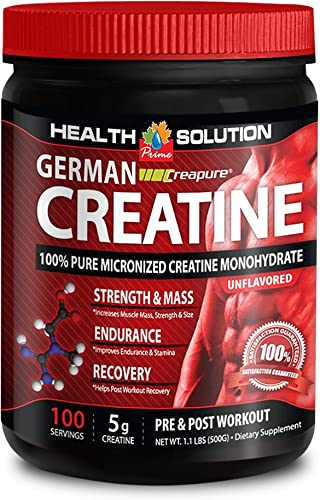 Creatine Powder – German CREATINE CREAPURE MONOHYDRATE 300 Gram 60 Servings – for Fat Burning 1 Bottle