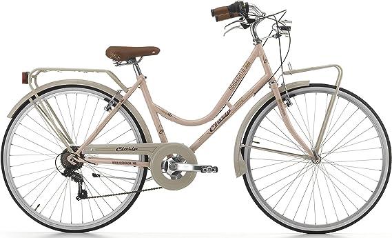 Cicli Cinzia Bicicleta NOVECENTO Mujer, Marco de Acero, 6 Marchas, 28 Pulgadas, tamaño 45, Color Powder/Sand Grey, tamaño H 45: Amazon.es: Deportes y aire libre