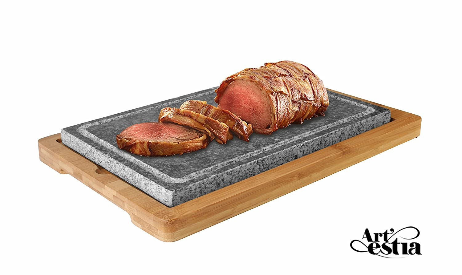 Artestia Mega Size Cooking Stone Sizzling Hot Stone Set with Stainless Steel Tray and Bamboo Platter, Deluxe Tabletop Barbecue/BBQ/Hibachi/Steak Grill (Deluxe Set with Mega Stone)