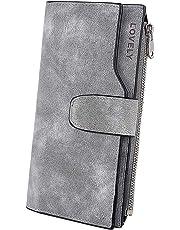 358a9b760 UTO - Cartera RFID Larga de Mujer Monedero Billetera con Cremallera Gran  Capacidad para Tarjetas Gris