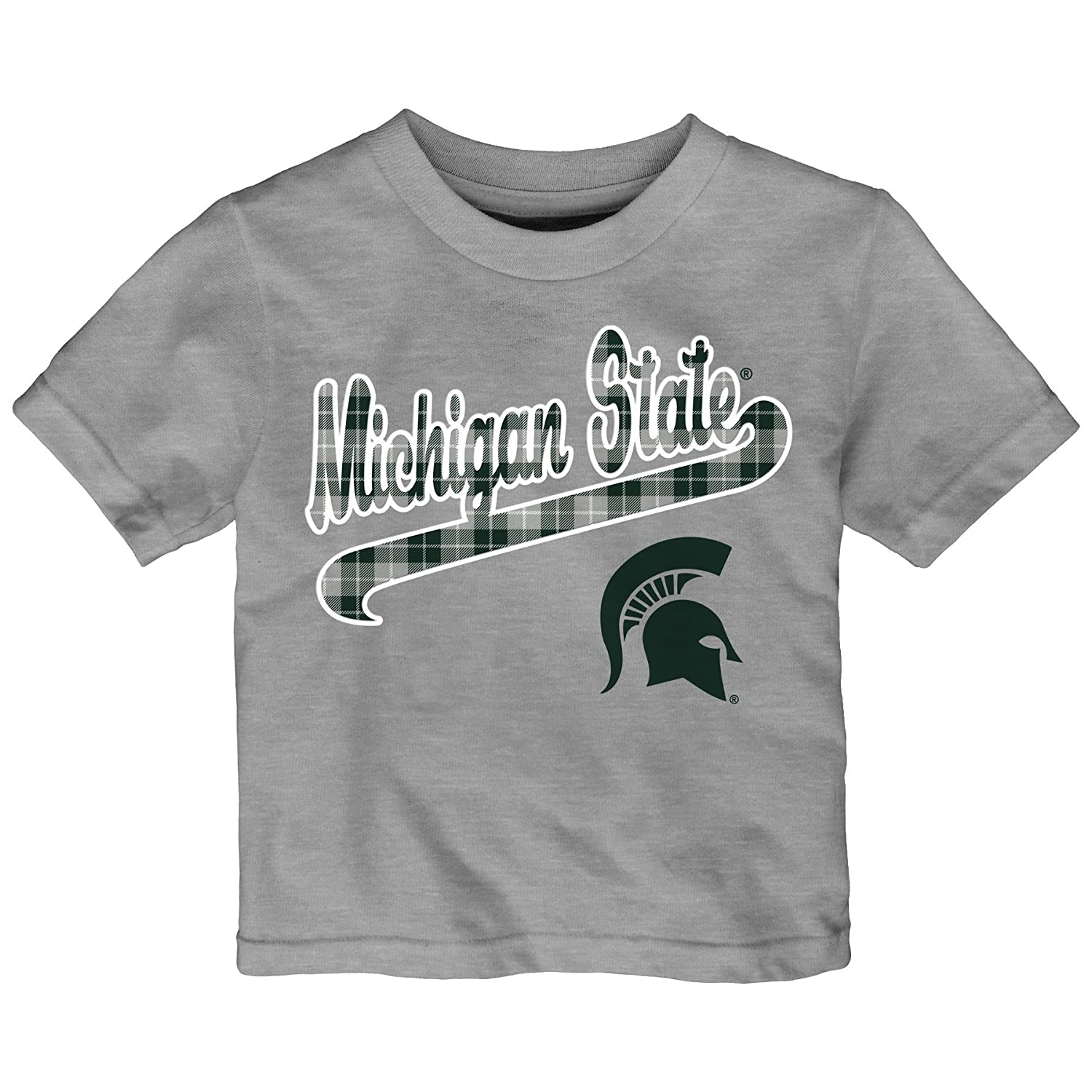 3T Outerstuff NCAA Michigan State Spartans Toddler Flannel Script Short Sleeve Tee Heather Grey