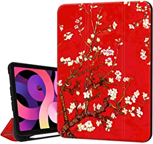 Hepix Apricot Flower iPad 10.9 inch Air 4th Generation Case with Pencil Holder 2020, Red Painting Floral Trifold Protective Shockproof Smart Cover Auto Sleep Wake for A2072 A2316 A2324 A2325