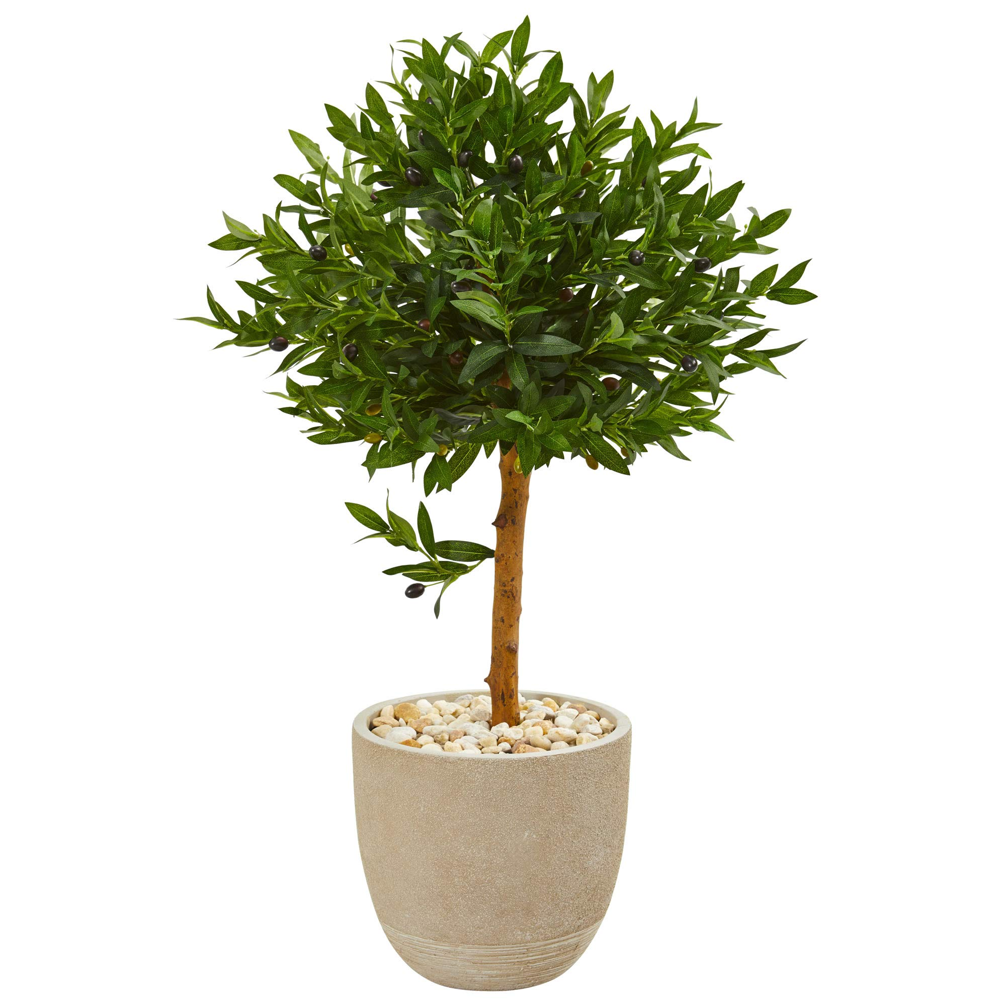 Nearly Natural 9314 40-in. Olive Topiary Artificial Sand Stone Planter UV Resistant (Indoor/Outdoor) Silk Trees Green