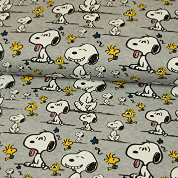 Stoffe Werning Baumwolljersey Lizenzstoff Peanuts Snoopy Faces ...