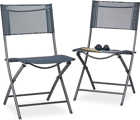 Relaxdays, 87 x 55 x 48 cm Pack de 2 Sillas Plegables para Camping, Jardín y Terraza, Metal y Plástico, Antracita, Gris