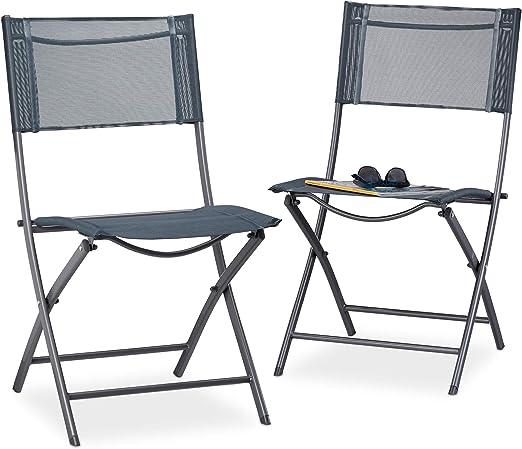 Relaxdays, 87 x 55 x 48 cm Pack de 2 Sillas Plegables para Camping ...