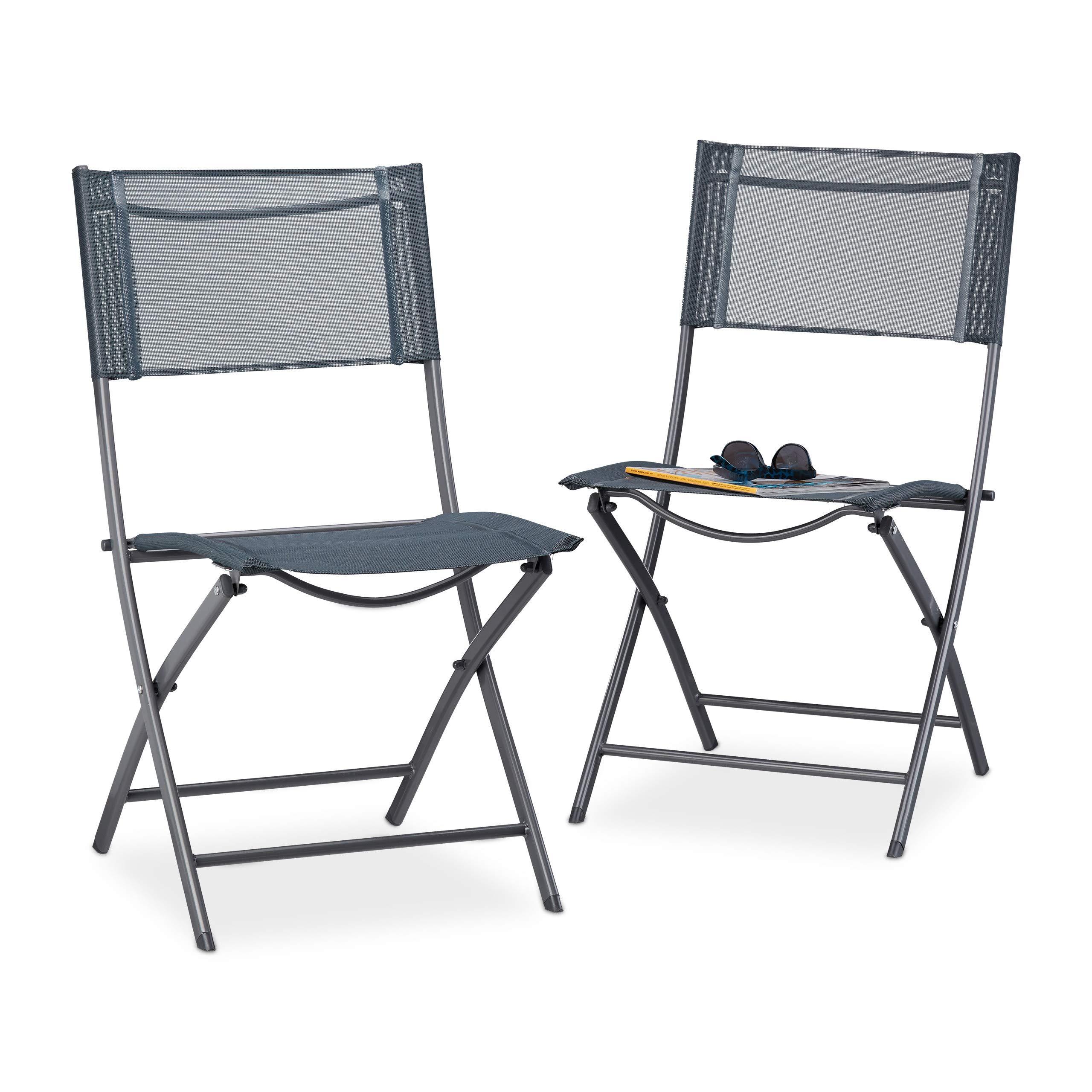 Relaxdays Set of 9 Folding Balcony Chairs, Metal, Plastic, Garden Chairs,  HxWxD: 9 x 9 x 9 cm, Foldable, Grey