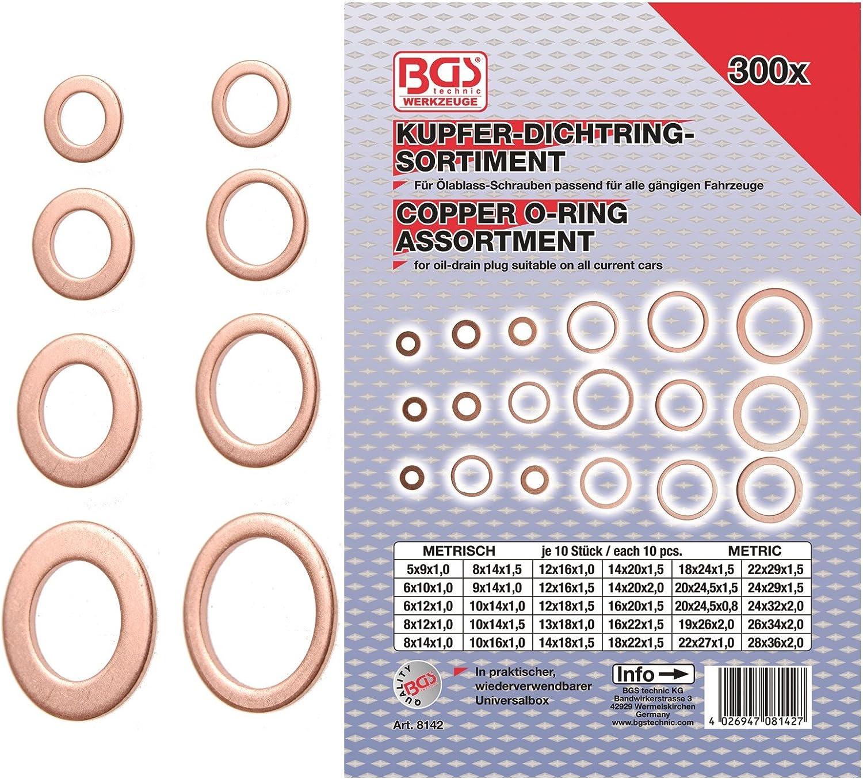 Kupfer Dichtring Sortiment Kupferdichtung Dichtung Ring Scheibe Ölwanne 210 tlg