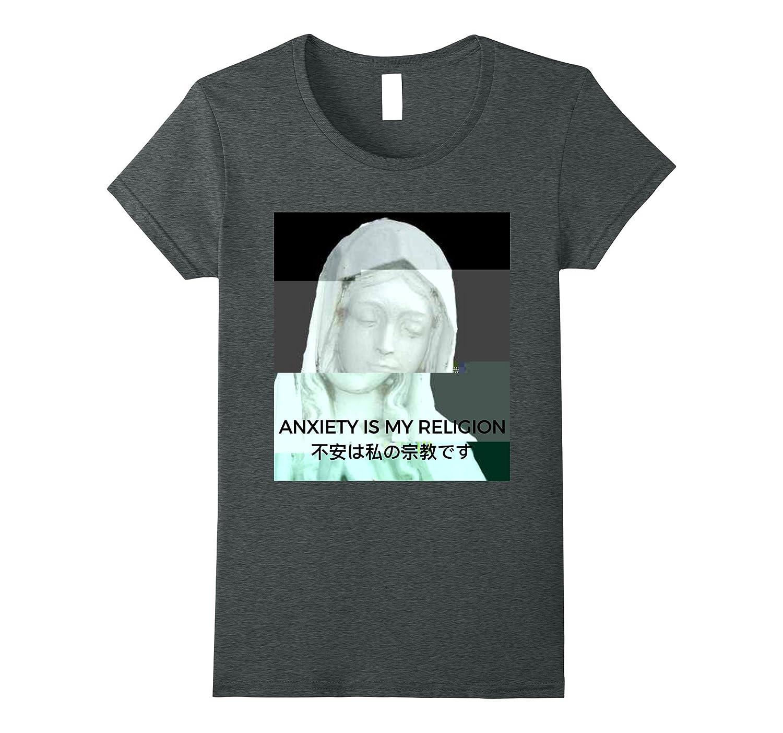 Mens Anxiety Religion Vaporwave T Shirt-Teeae