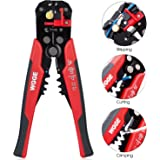 """WGGE WG-014 Self-Adjusting Insulation Wire Stripper, For stripping wire from AWG 10-24,Automatic Strippers with Cutters & Crimper 8"""""""