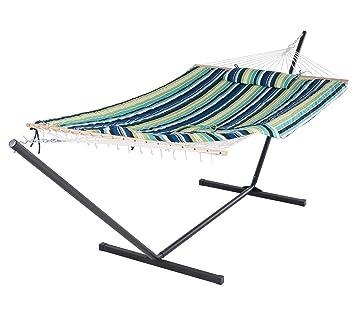 suncreat cuerda de algodón hamaca con 12 pies soporte de acero, incluye almohadilla y funda de almohada, bolsa de iPad y portavasos: Amazon.es: Jardín