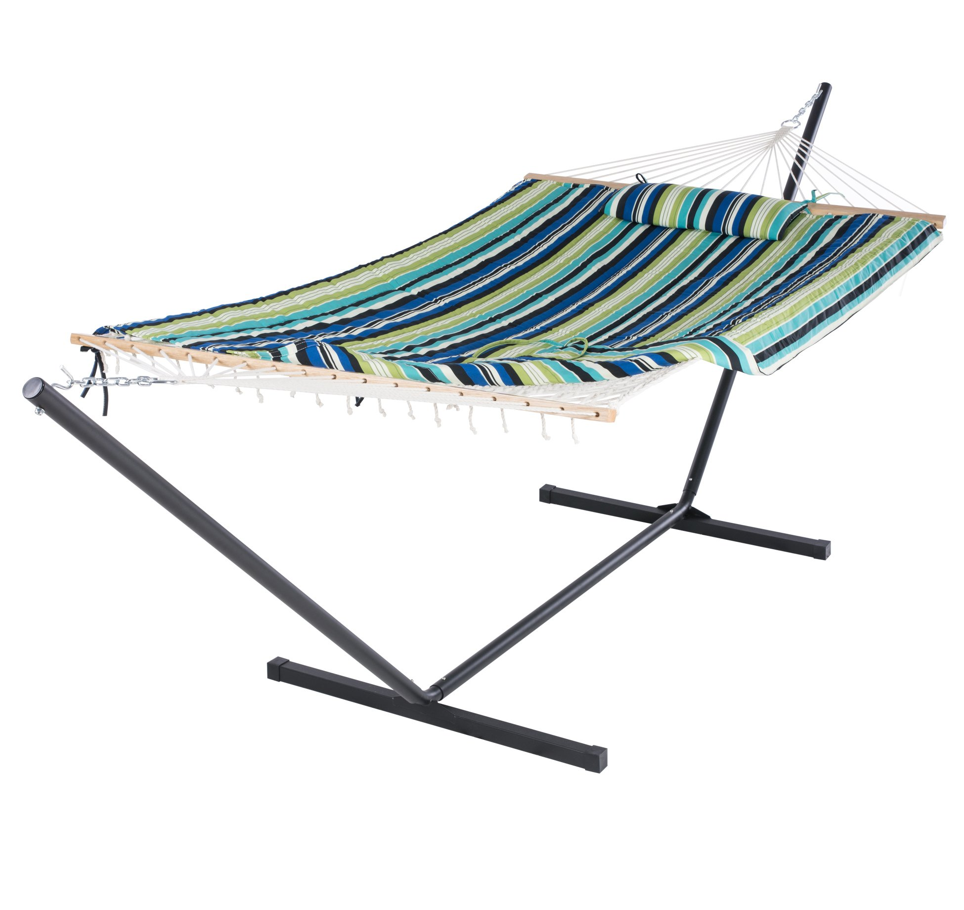 SUNCREAT Cotton Rope Hammock with 12 Foot Steel Stand, Includes Pad and Pillow, iPad Bag and Cup Holder-Blue