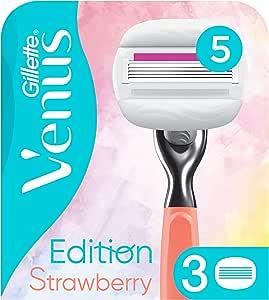 Gillette Venus Edition ComfortGlide Strawberry - Cuchillas de afeitar (3 unidades, con almohadilla de gel con aroma de fresa): Amazon.es: Salud y cuidado personal