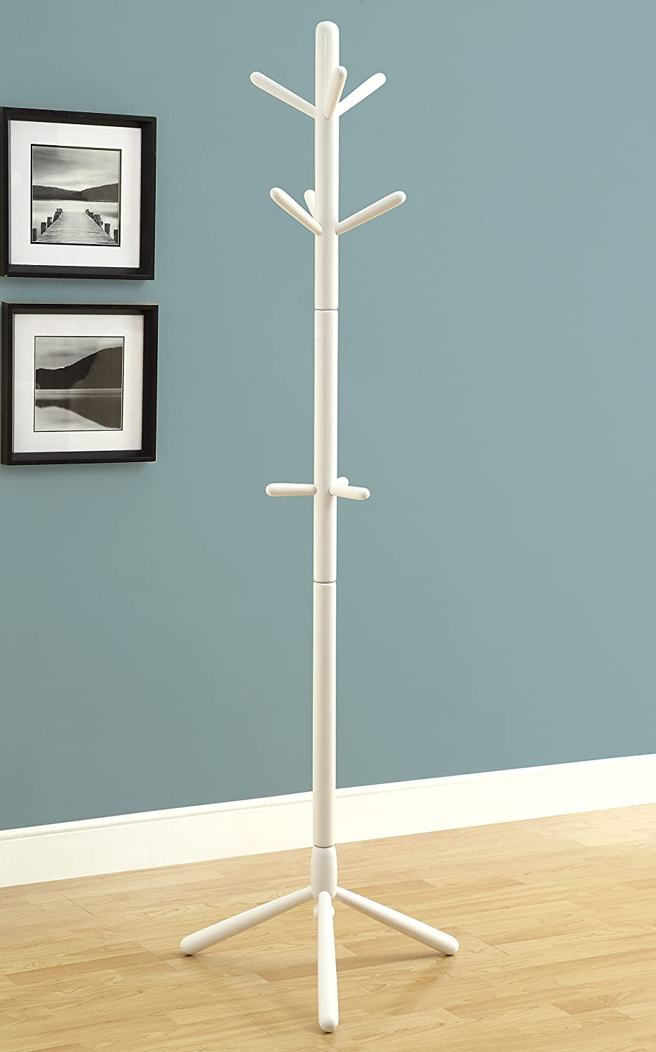 White Monarch Specialties Contemporary Solid Wood Coat Rack, White