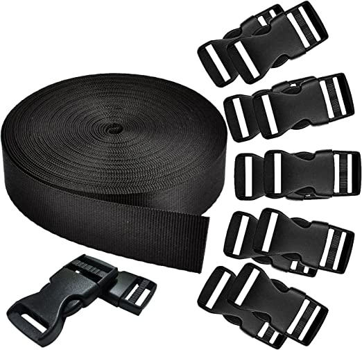 band+buckle REVEW 1.5 Inch Wide 10 Yards Black Nylon Heavy Webbing Strap and 12 PCS Flat Side Release Buckles Nylon Webbing Tape For DIY Craft Backpack Strapping