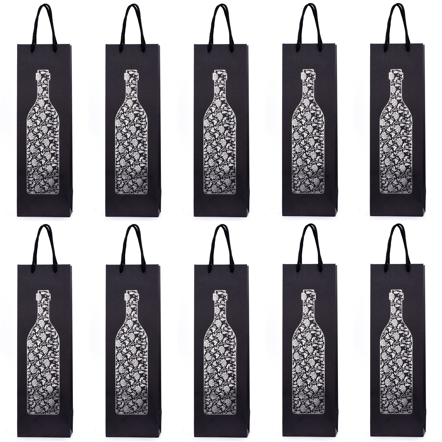 10 Gift Bags Bottle Bags for Wine Prosecco and Champagne 15.75 x 4.72 x 3.54 inch 40 x 12 x 9 cm Congratulations II