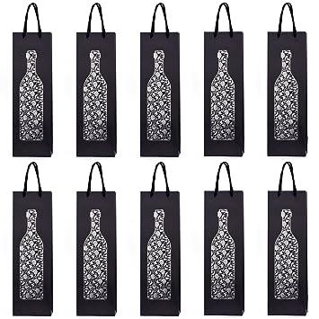 10 bolsas para botellas, bolsas de regalo para vino, prosecco y champán 40 x 12 x 9 cm - Vid de uva Vino tinto