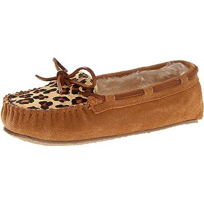 Minnetonka Women's Leopard Cally Slipper Moccasin, Cinnamon, 5 M US | Slippers