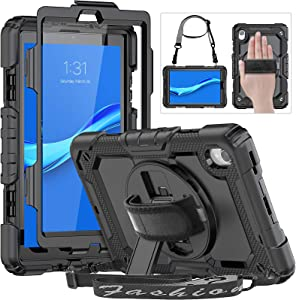 HXCASEAC Case for Lenovo Tab M8 8.0 inch, Heavy Duty Shockproof Case with Screen Protector, 360 Degree Rotating Stand/Hand Strap, Shoulder Strap, Pencil Holder for Lenovo Tab M8 TB-8505F/8505X, Black
