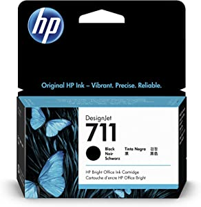 HP 711 Black 38-ml Genuine Ink Cartridge (CZ129A) for DesignJet T530, T525, T520, T130, T125, T120 & T100 Large Format Plotter Printers