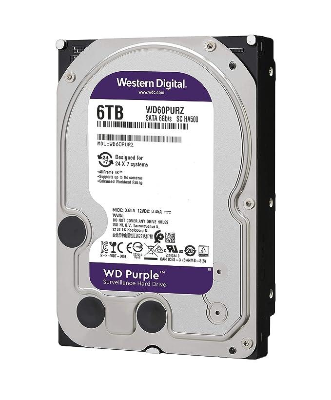 WD Internal Hard Drive WD60PURZ 6TB 5400 RPM 64MB Cache