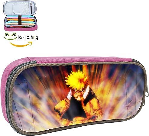 Naruto estuche lápiz bolsa bolsa de maquillaje duradero estudiantes moda personalizada Papelería con doble cremallera: Amazon.es: Oficina y papelería
