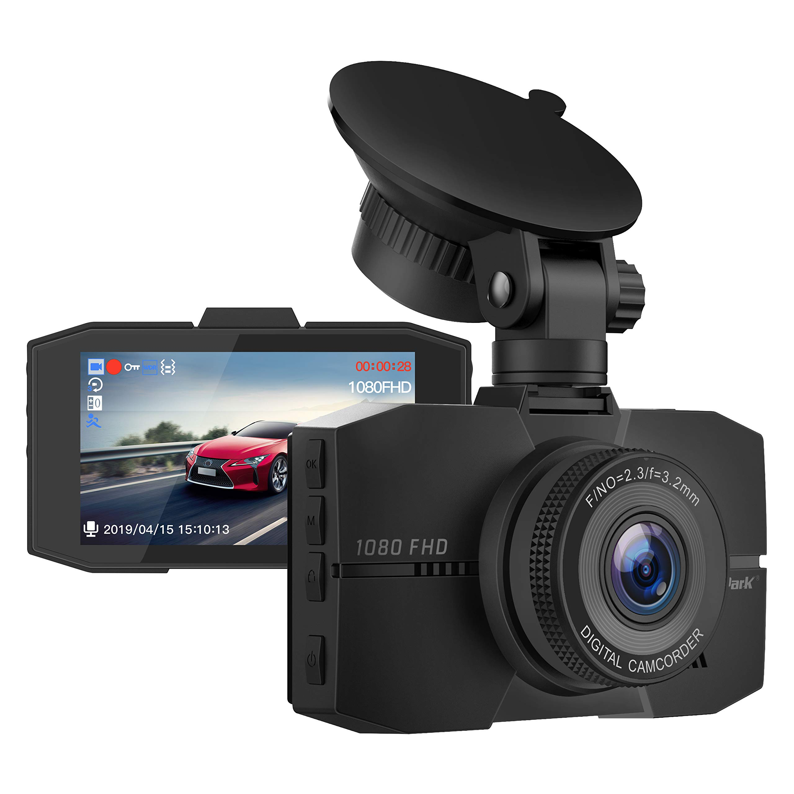 Campark Dash Cam 1080P Full HD DVR Dashboard Camera for Cars with 3'' IPS Screen Super Night Vision 170° Wide Angle G-Sensor Loop Recording and Parking Monitor by Campark