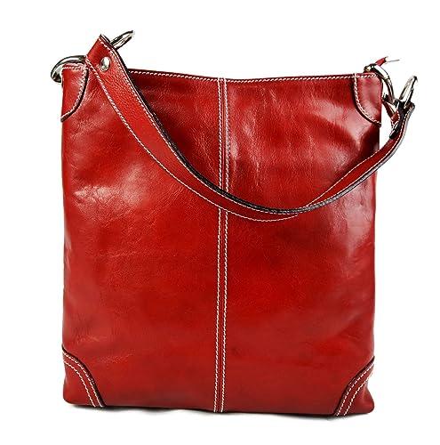 fd97a88591f35 Damen tasche handtasche ledertasche damen ledertasche schultertasche leder  tasche henkeltasche umhängetasche rot made in italy