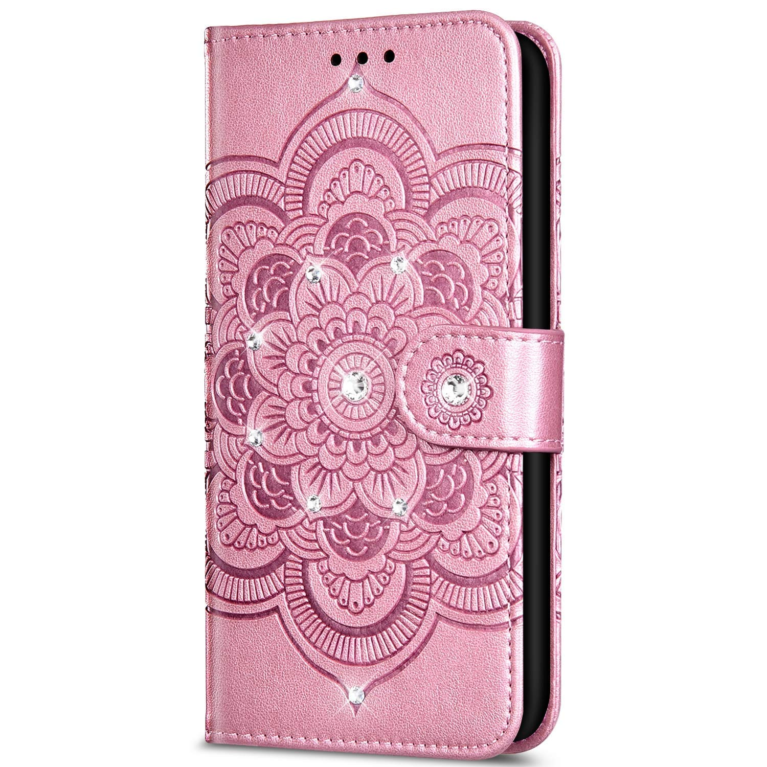 Case for Xiaomi Redmi Note 7 Bling Glitter Rhinestone flower Embossed relief Flip PU Leather Wallet Case with Stand Function[Card Slots] [Magnetic closure]for Xiaomi Redmi Note 7,Rose gold by ikasus