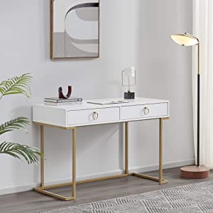 BELLEZE Modern Home Office Computer Desk, Matt White with Gold Leg, Makeup Vanity Console Table