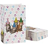 Cat Party Favor Bags - 36-Pack Cat Birthday Pet Party Supplies, Small Paper Gift Bags for Goodies, Cats and Paws Design, 5.1 x 8.7 x 3.2 Inches