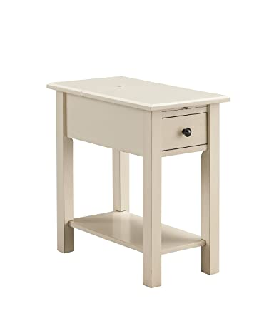 Sutton Side Table With Charging Station In Antique White