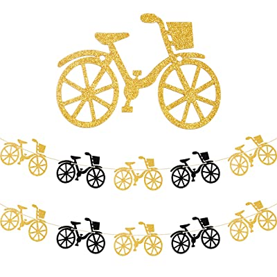 2 Pieces Bicycle Party Banner Bike Banner Sports Theme Bicycle Garland for Birthday Baby Shower Party Decoration: Toys & Games