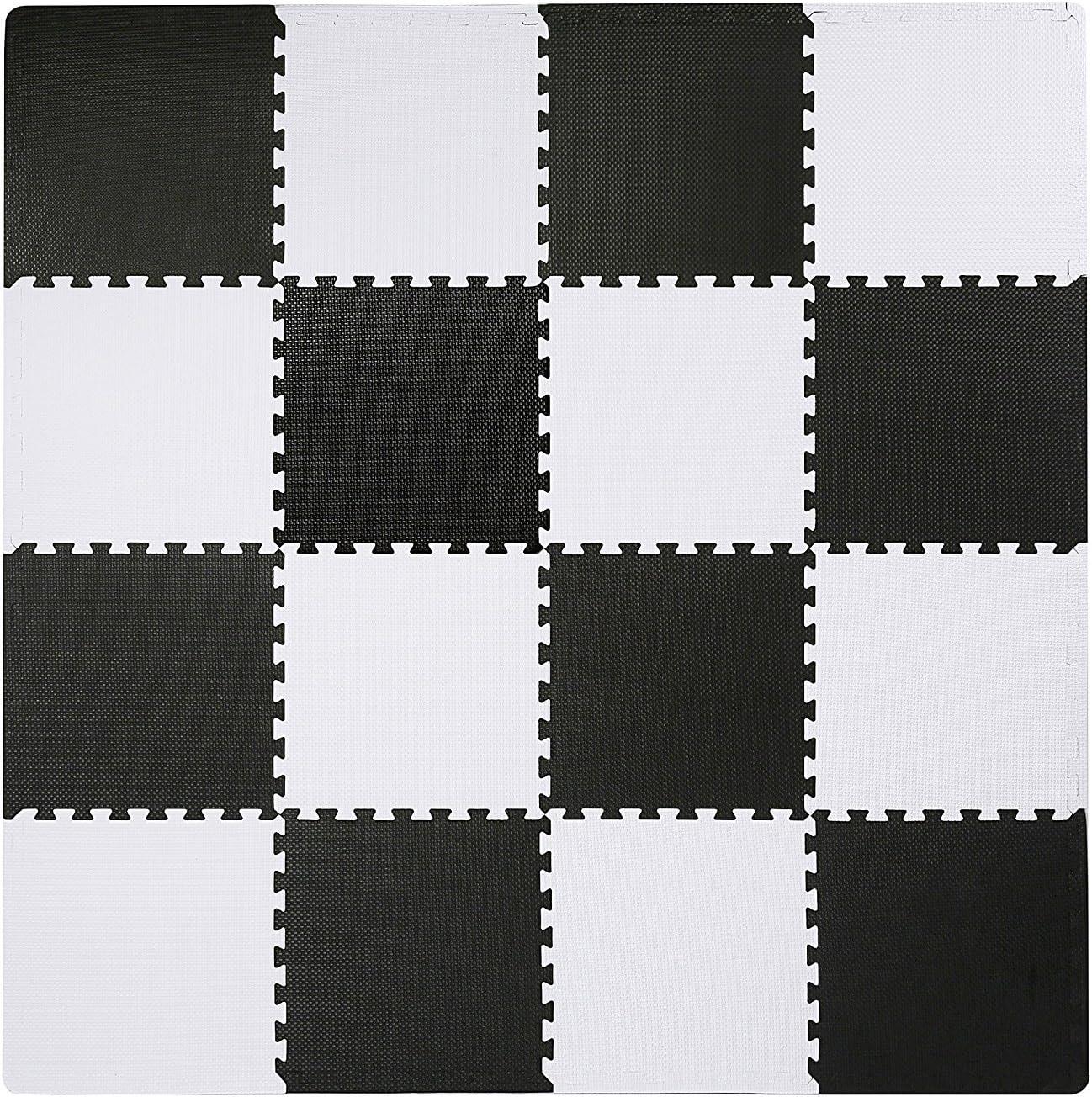Superjare Interlocking Floor Tiles, 16 Tiles EVA Foam Puzzle Mat with Borders - White and Black