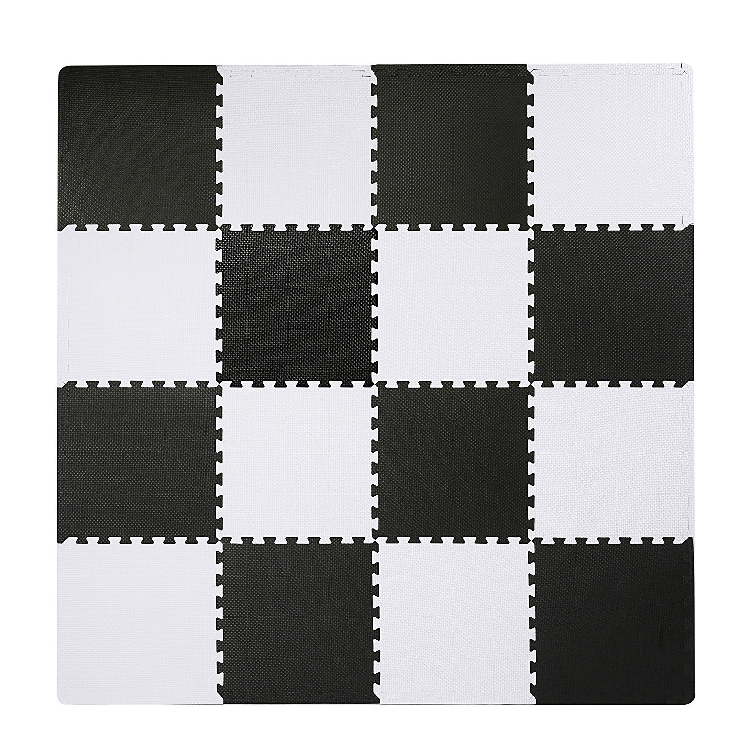 Superjare Interlocking Floor Tiles, 16 Tiles EVA Foam Puzzle Mat with Borders - White and Black by SUPERJARE