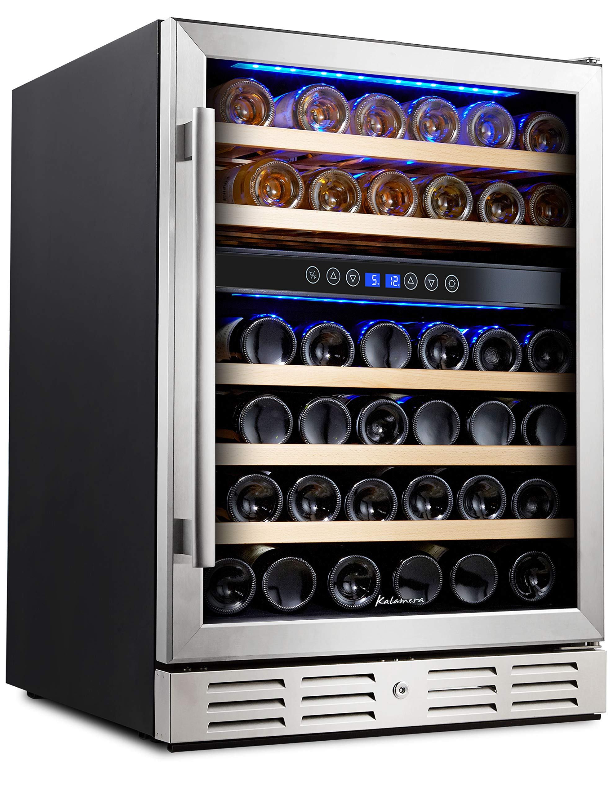 Kalamera 24'' Wine refrigerator 46 Bottle Dual Zone Built-in and Freestanding with Stainless Steel & Triple-Layer Tempered Glass Door and Temperature Memory Function by Kalamera