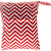 Damero Cute Travel Baby Wet and Dry Cloth Diaper Organizer Bag (Large, Red Chevron)