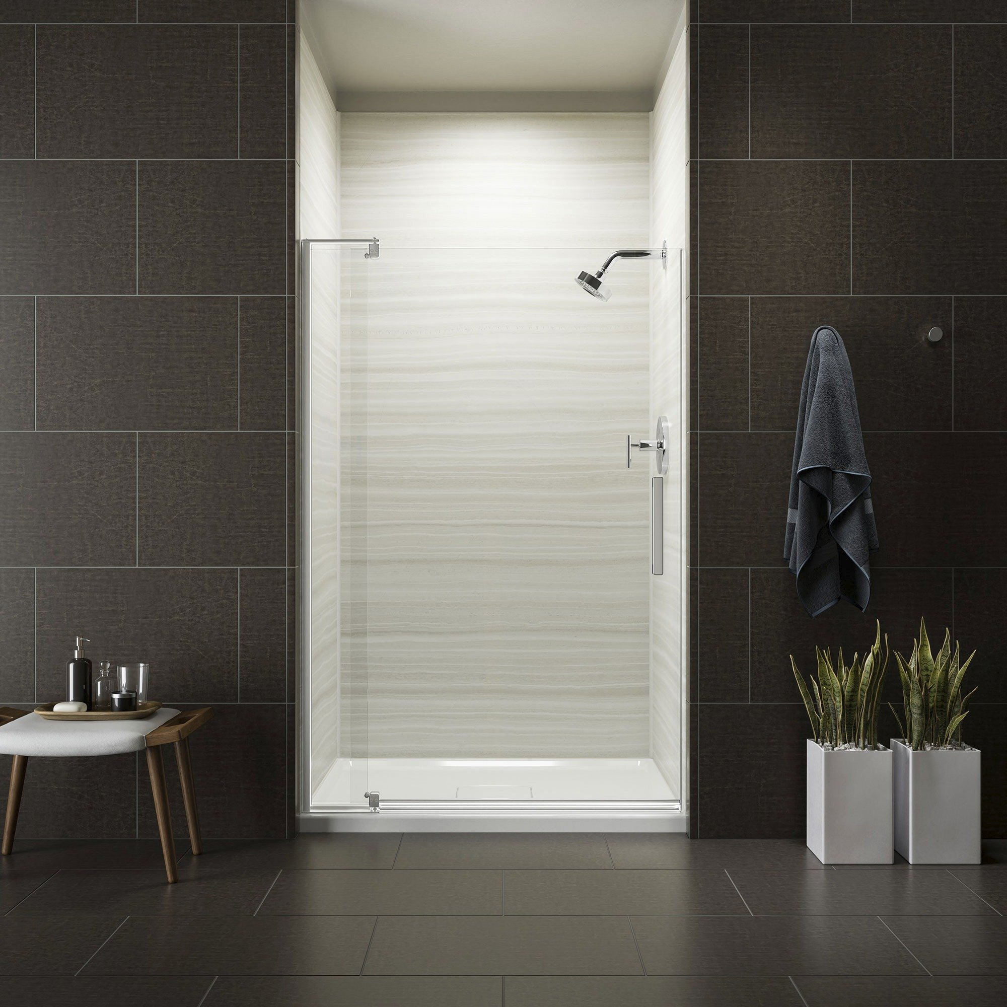 KOHLER K-707551-L-SHP Revel Pivot Shower Door with 5/16'' Thick Crystal Clear Glass, 70 x 43-1/8 x 48'', Bright Polished Silver