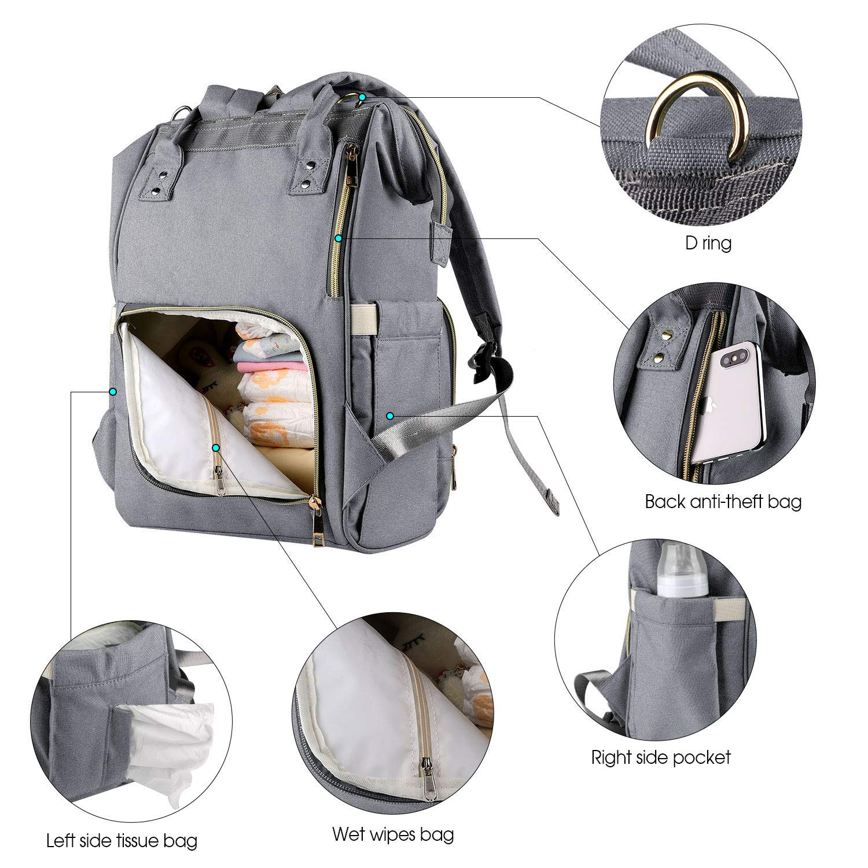 Amazon.com: Bolsa de pañales multifunción impermeable para ...