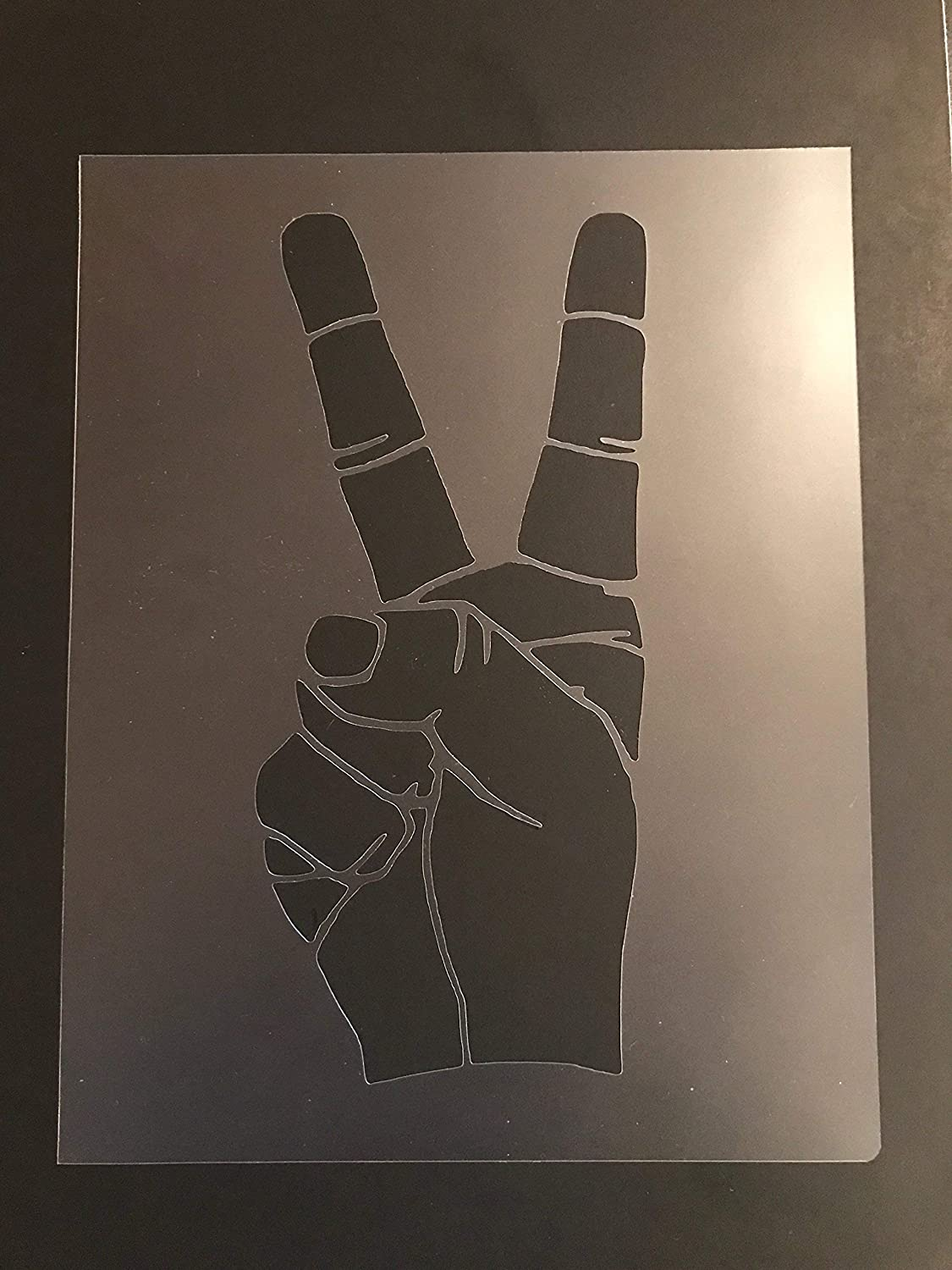 Hand Peace Sign Stencil #1 Reusable 10 mil Thick 8in x 10.5in sheet