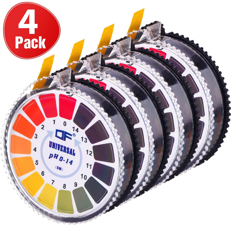 Universal pH Test Paper Strips pH Test Strips Roll, pH Measure Full Range 0-14, 16.4 ft/Roll (4 Rolls) by Jovitec