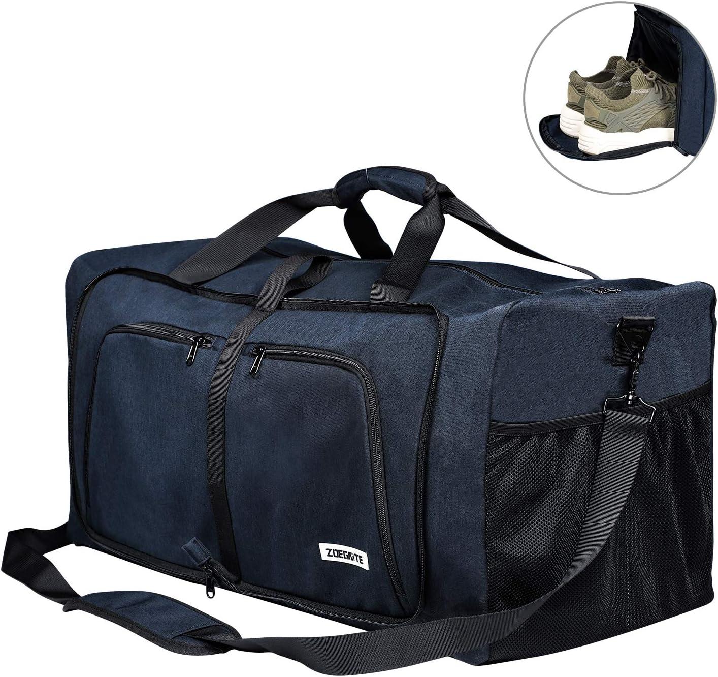 FORTUNAM Sac de Voyage Sac de Sport Homme Foldable Travel Duffel Bag avec Compartiment /à Chaussures Sacs de Voyage Imperm/éables de Grande Capacit/é Sac Gym Fitness Sac /à Week-End Bleu
